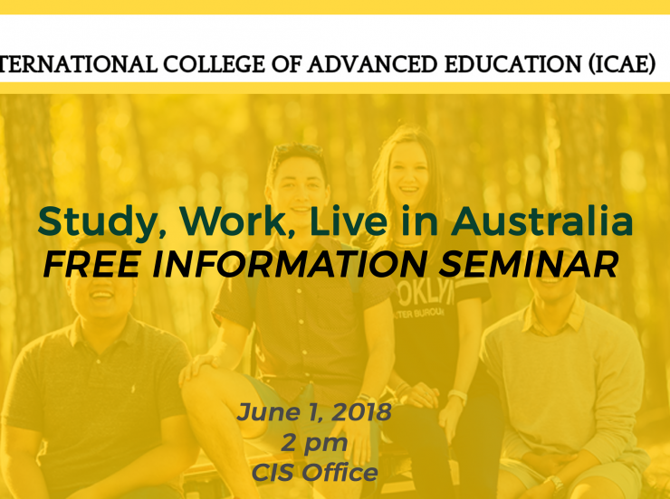 YOU'RE INVITED: Info seminar with International College of Advanced Education, Australia